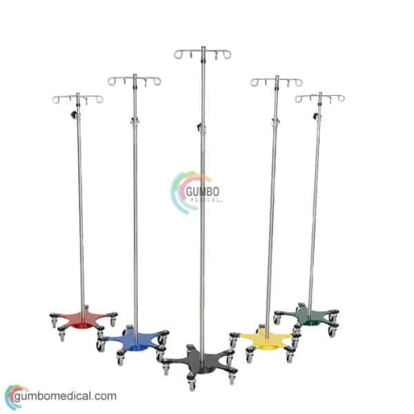 Chrome 5 Leg Space Saving IV Pole 4 Hook Top GMCM220 Color